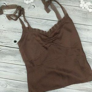 WET SEAL Brown Silky Tank Top Rouching Tie Strap S